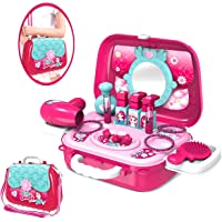MQfit Beauty Make up Set Toy with Shoulder Bag, Briefcase Vanity Case Dress Up Toys for Girls (Makeup Kits)