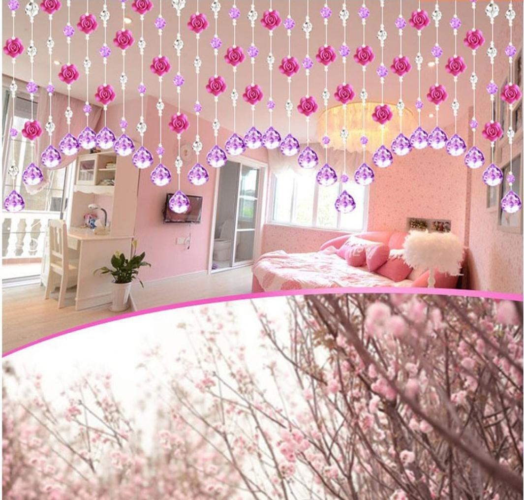 dormitorio Hunpta puerta o decoraci/ón de boda ventana Cortina de cuentas de cristal en forma de rosa de lujo para sal/ón