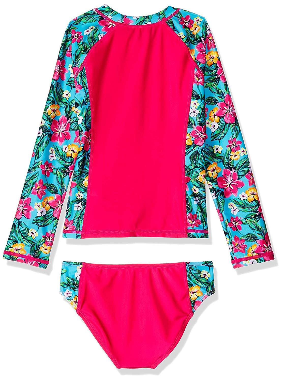 Nautica Little Girls' Rashguard Swim Suit Set, Floral Pink, 5 by Nautica (Image #2)