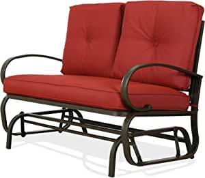 PATIO TREE 2-Seat Patio Glider Swing Bench Outdoor Rocking Loveseat Chair with Cushion, Red