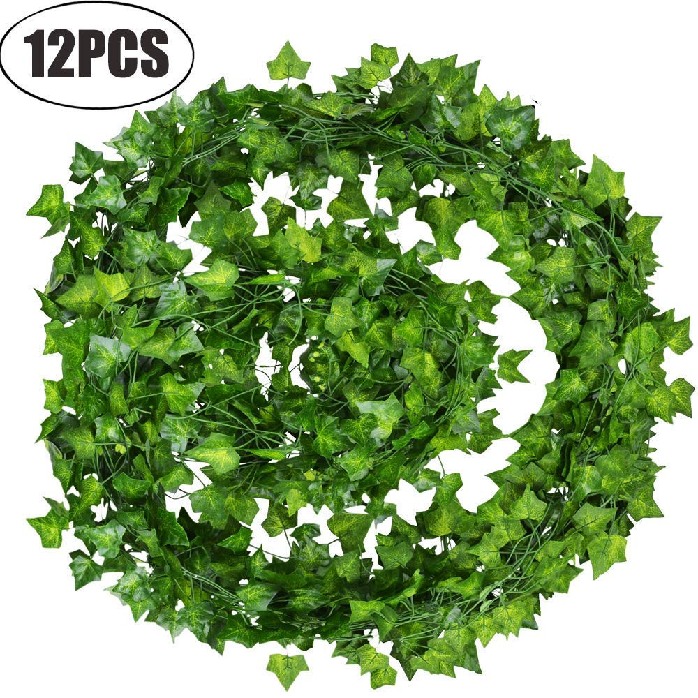 MINISTAR Ivy Leaves 85Ft 12 strands Artificial Fake Leaves Hanging Vines Plant Leaves Garland Home Garden Poison Ivy Costume SLBNS