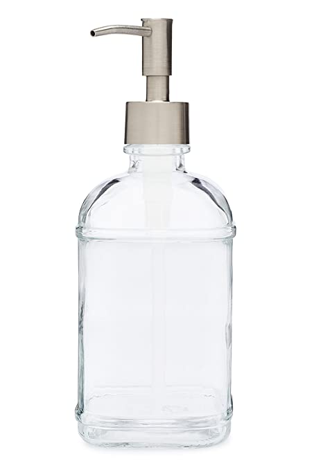 Catalina Glass Soap Dispenser Liquid Hand Soap Pump for The Kitchen and  Bathroom Sink - Great for Dish Soap, Hand Soap and Hand Lotion (Stainless  ...