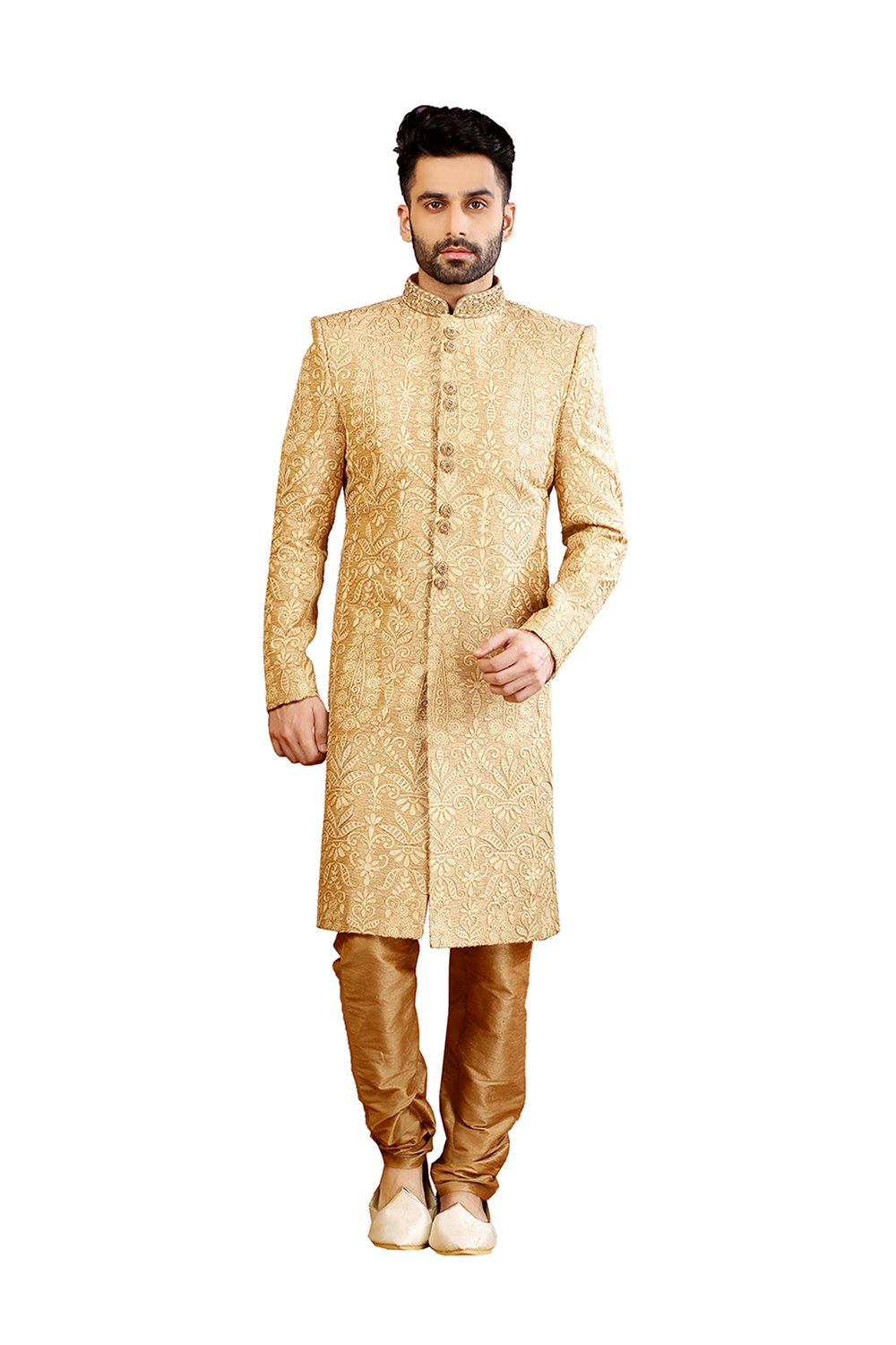 PinkCityCreations PCC Mens Indo Western Wedding Fawn Designer Partywear Traditional R-25420