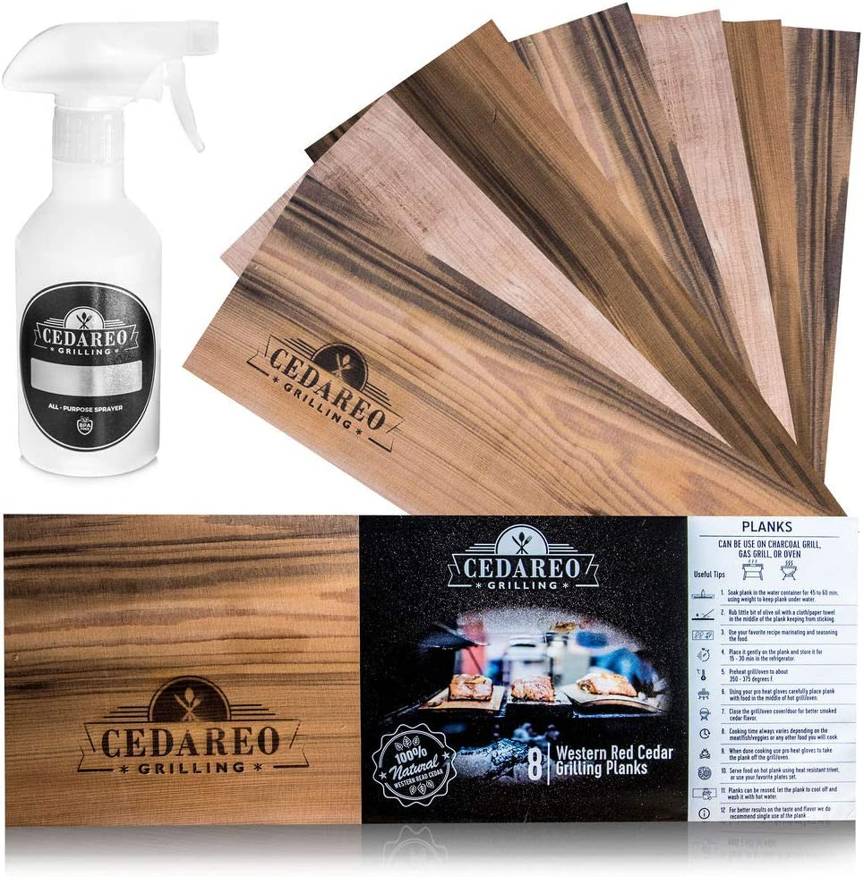 "CEDAREO - 15""x 5.5""x 3/8 Cedar Grilling Planks - 8 Natural 100% Cedar Aroma Boards for Cooking Salmon, Shrimp, Fish, Meats, Vegetables, Cocktail Drinks & Non-BPA Spray Water Bottle -"