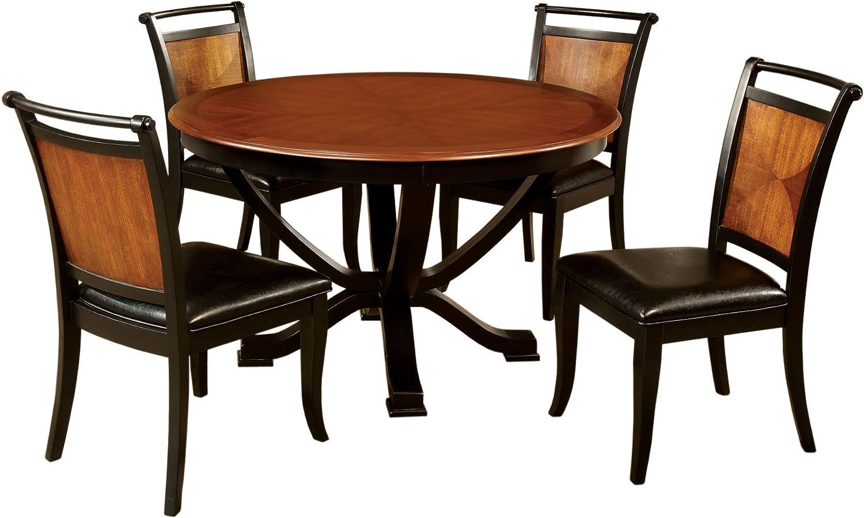 Furniture of America Sahrifa 5-Piece Duotone Round Dining Table Set, Acacia and Black Finish