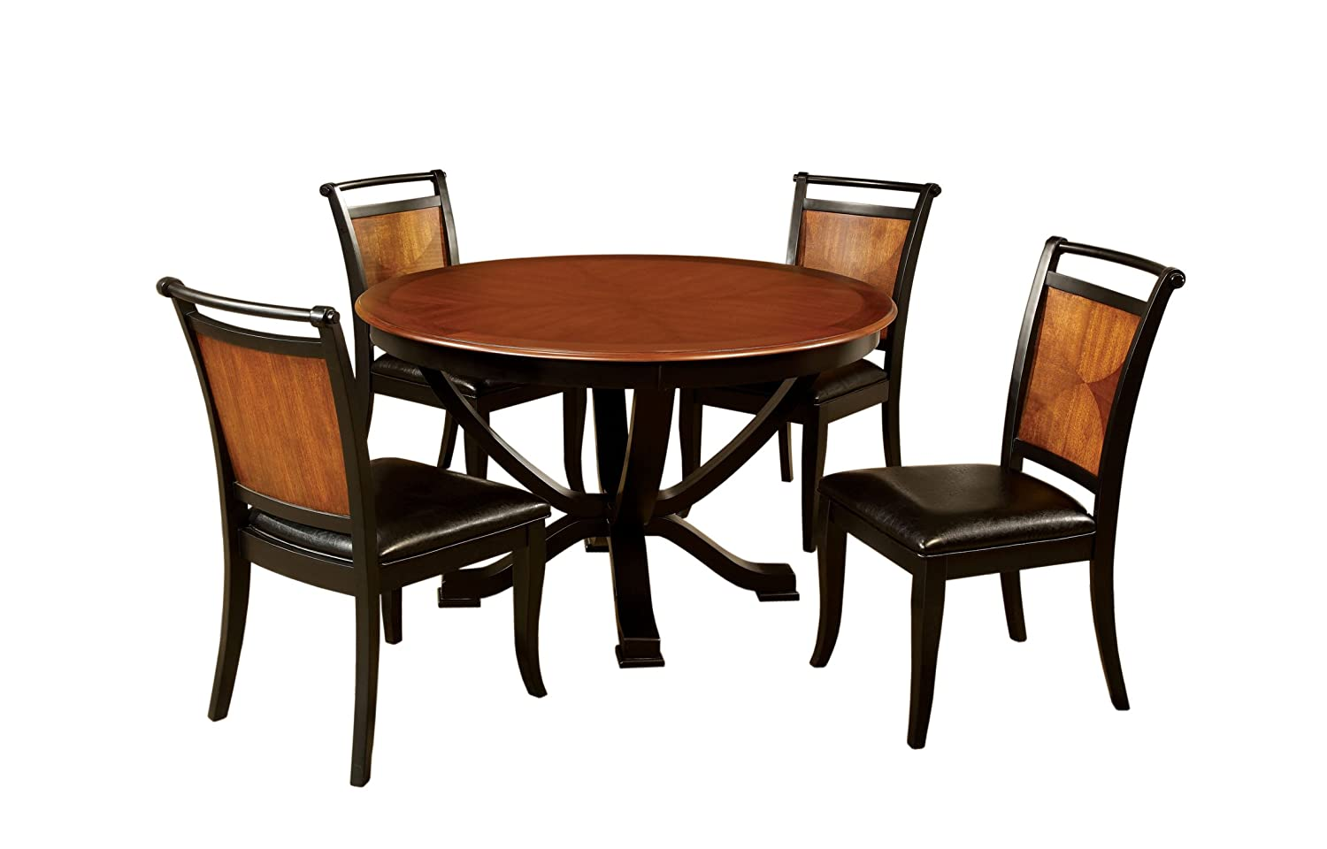 Amazon com furniture of america sahrifa 5 piece duotone round dining table set acacia and black finish table chair sets