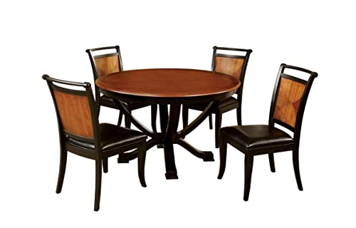 Furniture of America Sahrifa 5-Piece Duotone Round Dining Table Set, Acacia and Black Finish