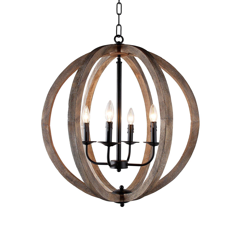 Amazon com decomust 24 vintage pendant orb chandelier light wood