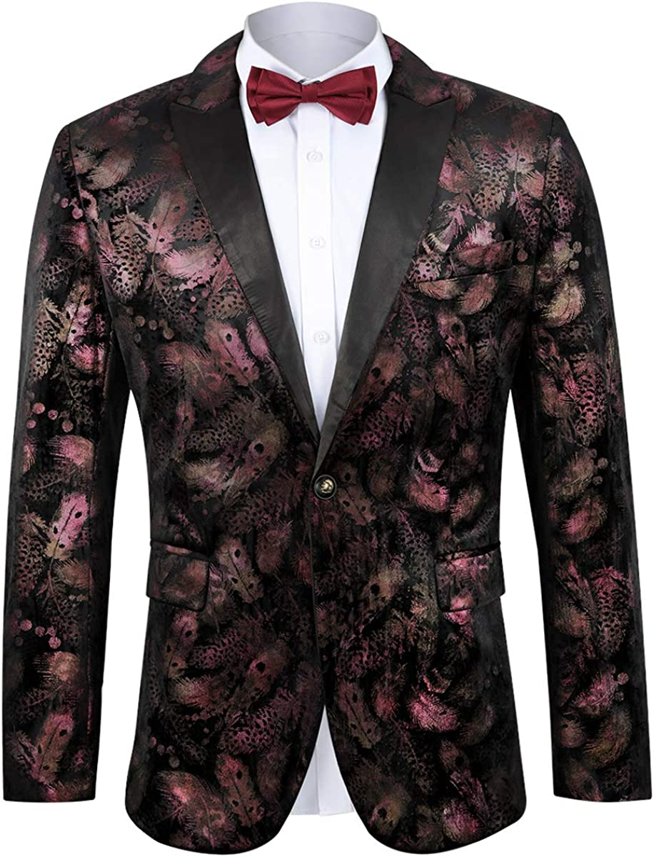 MAGE MALE Mens Luxury Velvet Rose Feather Floral Blazer Jacket Slim Fit Casual Sports Coat