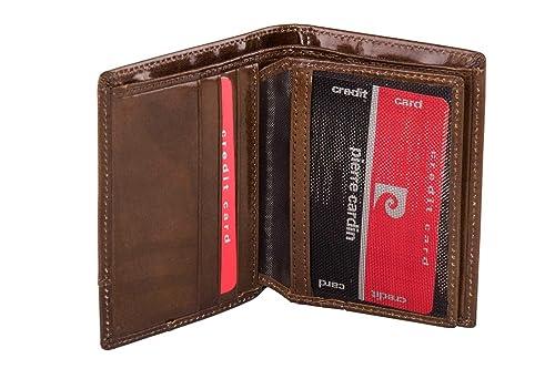 ff578fc4e79 Pierre Cardin Mini Cartera hombre vertical marrón en piel con solapa A4586   Amazon.es  Zapatos y complementos