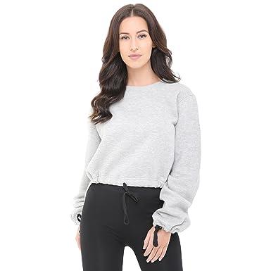 3fcb8cc65d1951 Get The Trend Womens Fleece Tops Hi Hem Lo Hem Ladies Long Sleeve  Sweatshirt Oversized Jumper Grey M: Amazon.co.uk: Clothing