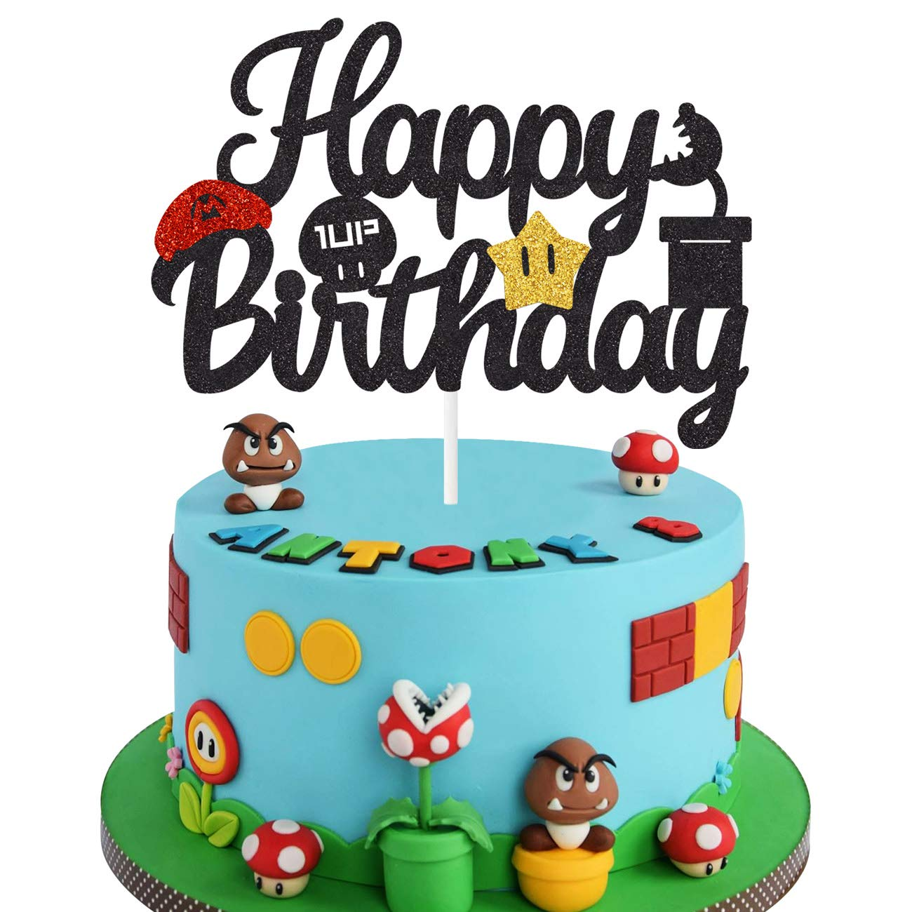 Black Glitter Mario Cake Topper Happy Birthday Cake Decoration Video Game Themed Kids Boys Birthday Party Supplies Amazon Com Grocery Gourmet Food