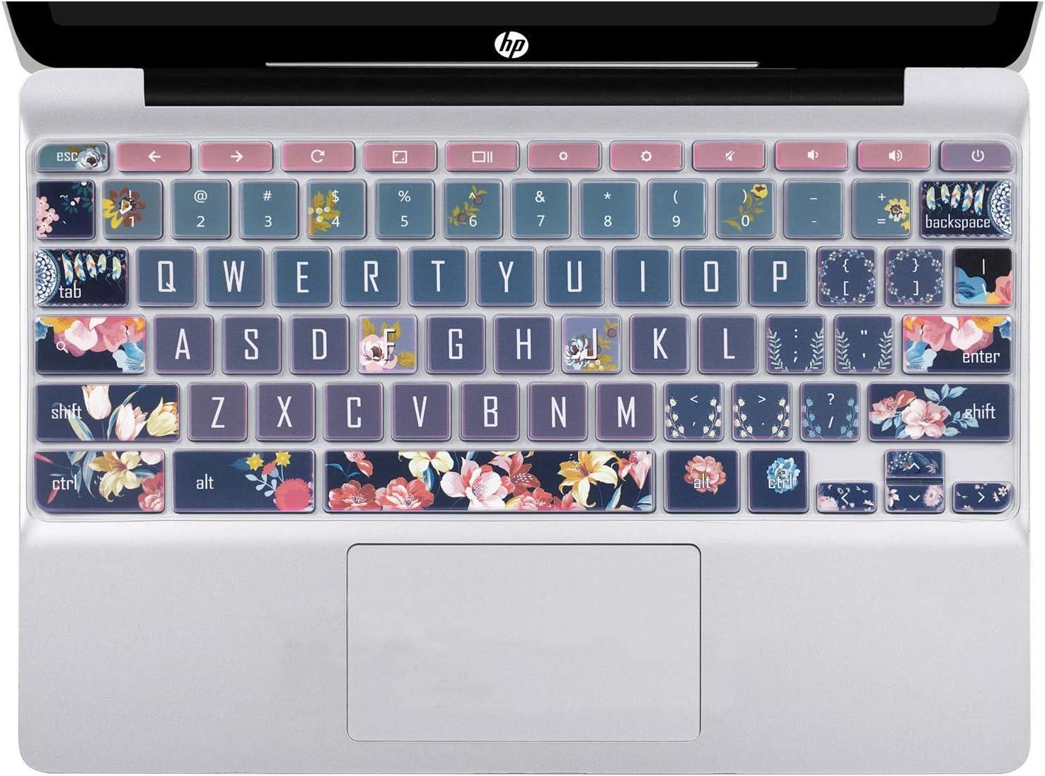 """SANFORIN Silicon Keyboard Cover Skin for HP Chromebook 11 x360 11.6"""", Chromebook 11 G2/G3/G4/G5/G6 EE/G7 EE 11.6'', HP Chromebook 14-ca 14-ak 14-X Series,HP Chromebook 14 G2 G3 G4,Red Flower"""