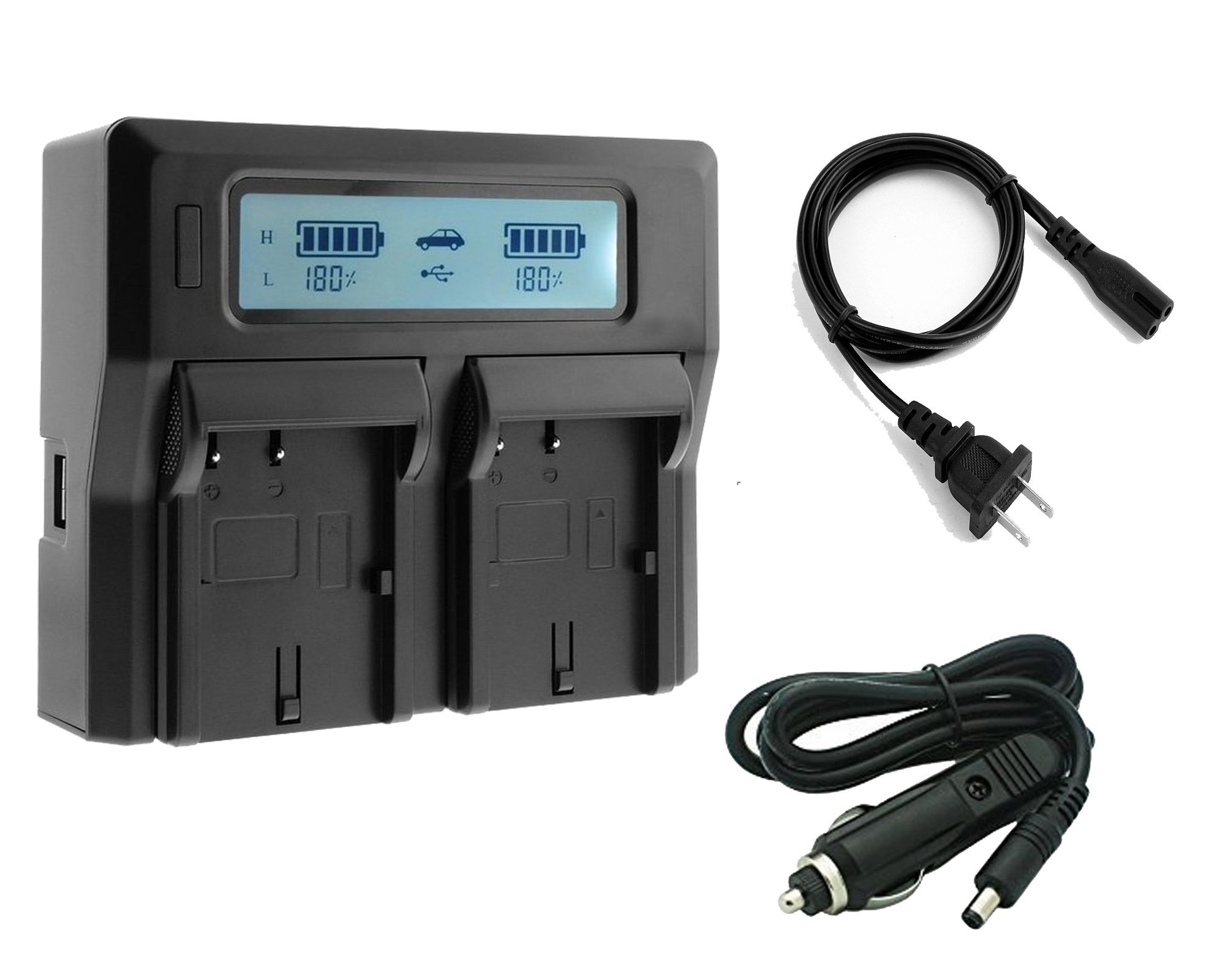 NP FV50, NPFV50, NP FV70, NPFV70, NP FV100, NPFV100 Battery Charger Renheng Dual LCD Display Fast Charge Digital Camcorder Battery Charger for Sony FDR-AXP55,FDR-AX40,HDR-CX450 by SR SUN ROOM