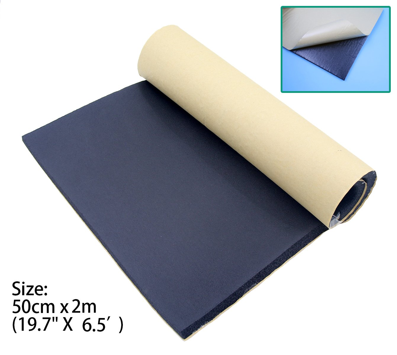 SUNDELY® 5mm Sound Proofing Deadening Vehicle Insulation Closed Cell Foam Sheet with Adhesive Backing 50cm x 2m (19.7' X 6.5')