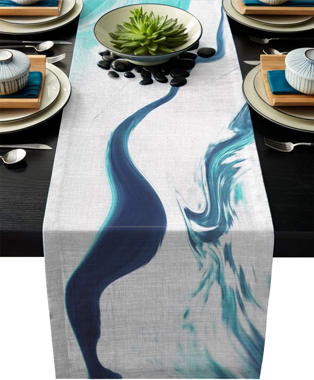 Abstract Water Waves Teal Dining Room Machine Washable 13x70 Inch Farmhouse Table Runners for Summer Parties Olivefox Linen Burlap Table Runner Wedding Decorations Home Kitchen