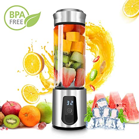 Personal Smoothie Blender,DOUHE Cordless Portable Blender Rechargeable USB Juicer Mini Blender Small Blender -Shakes,Smoothies,Baby Food - Outdoor ...