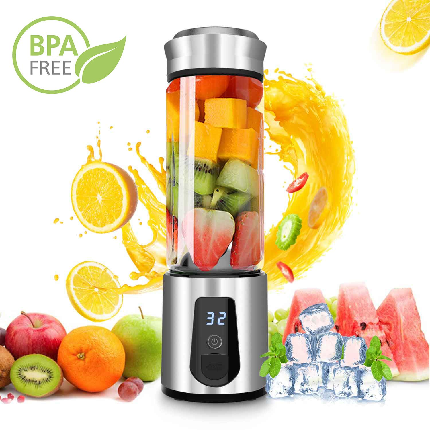 Personal Smoothie Blender,DOUHE Rechargeable Portable Blender Small Blender Mini USB Juicer Mixer -Shakes,Smoothies,Baby Food - Outdoor Travel Home Office,High Borosilicate Glass,BPA Free,Cordless by DOUHE (Image #1)
