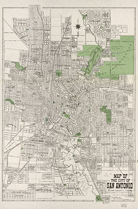 San Antonio Map Of Texas.Vintage 1924 Map Of Map Of The City Of San Antonio Bexar County Including Suburbs Both North And South Bexar County San Antonio Texas United