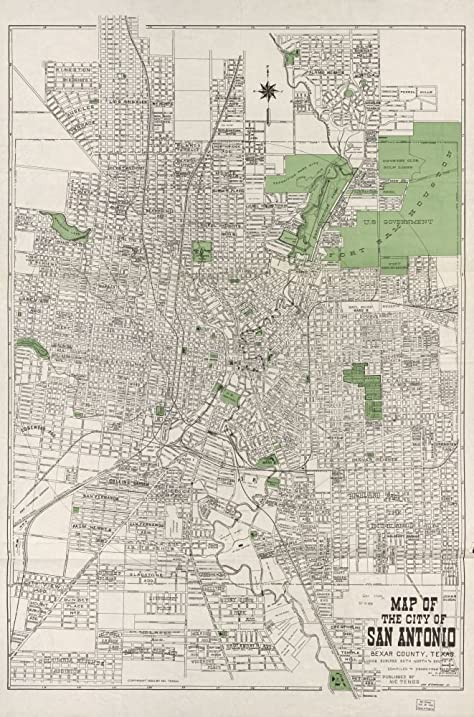 vintage 1924 map of map of the city of san antonio bexar county including