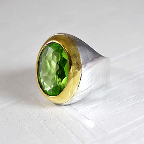 Natural Peridot Ring Pear Shape Green Peridot Gemstone Silver Ring Sterling Silver Ring Green Gemstone Ring Vintage Gift Ring For Her