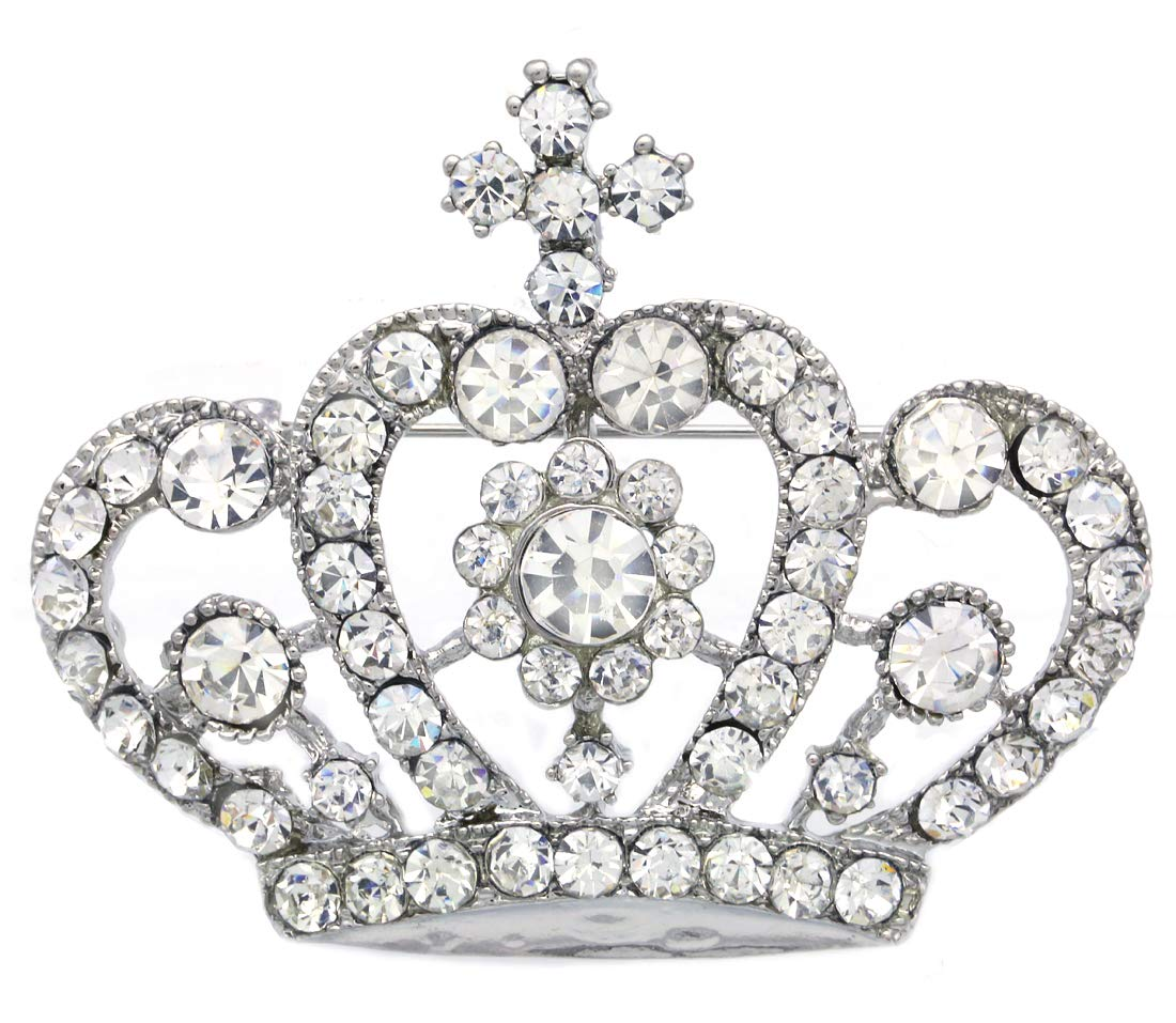 Soulbreezecollection Princess Crown Tiara Brooch Pin Wedding Bridesmaid Rhinestones Jewelry (Clear - STYL 2)