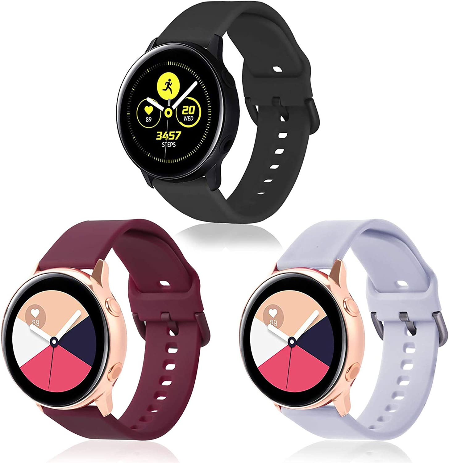 KOREDA Compatible with Samsung Galaxy Watch Active 2 40mm 44mm/Galaxy Watch 42mm/Galaxy Watch 3 41mm Bands Sets, 20mm Soft Silicone Sport Strap Wristbands Replacement for Galaxy Watch Active 40mm