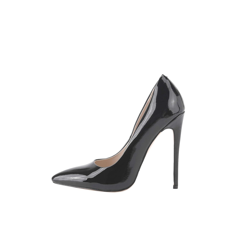 TALLA 40 EU. Tanisha - Zapatos de Vestir de Charol para Mujer Negro Negro