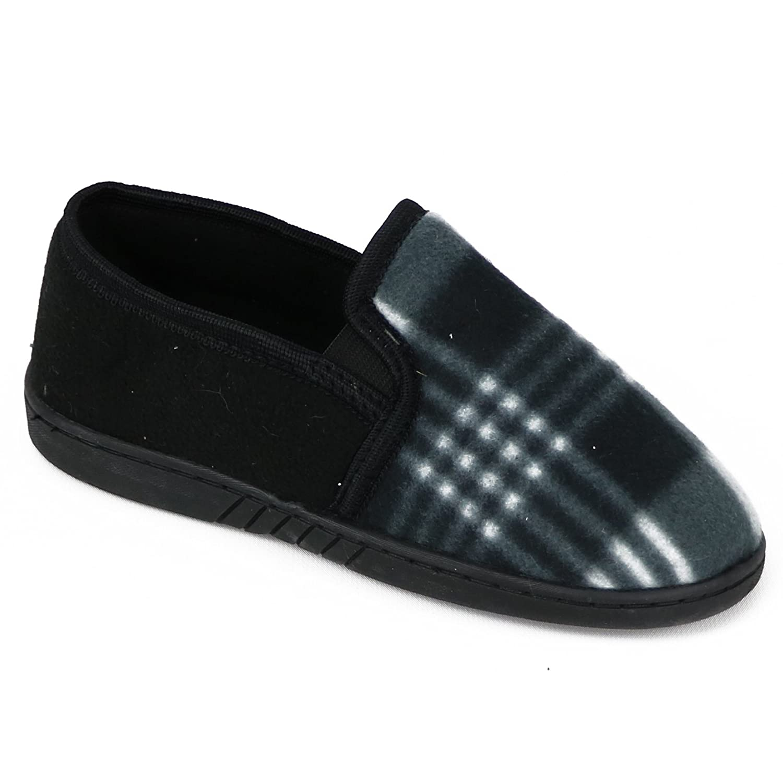 Zac /& Evan Boys Plaid Fleece Slipper Shoe