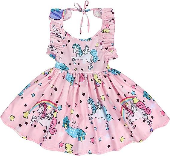 AmzBarley Unicorno Vestito Estivo Bambina Ragazza Senza Maniche Indietro Casual Abito Vestiti Festa Compleanno Partito Carnevale Abiti