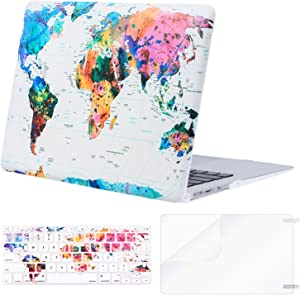 MOSISO MacBook Air 13 inch Case (A1369 & A1466, Older Version 2010-2017 Release), Plastic Pattern Hard Case&Keyboard Cover&Screen Protector Only Compatible with MacBook Air 13, World Map White Base