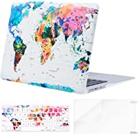MOSISO MacBook Air 13 Case (A1369&A1466,Older Version 2010-2017 Release), Pattern Plastic Hard Shell&Keyboard Cover&Screen Protector Only Compatible with MacBook Air 13 Inch, World Map