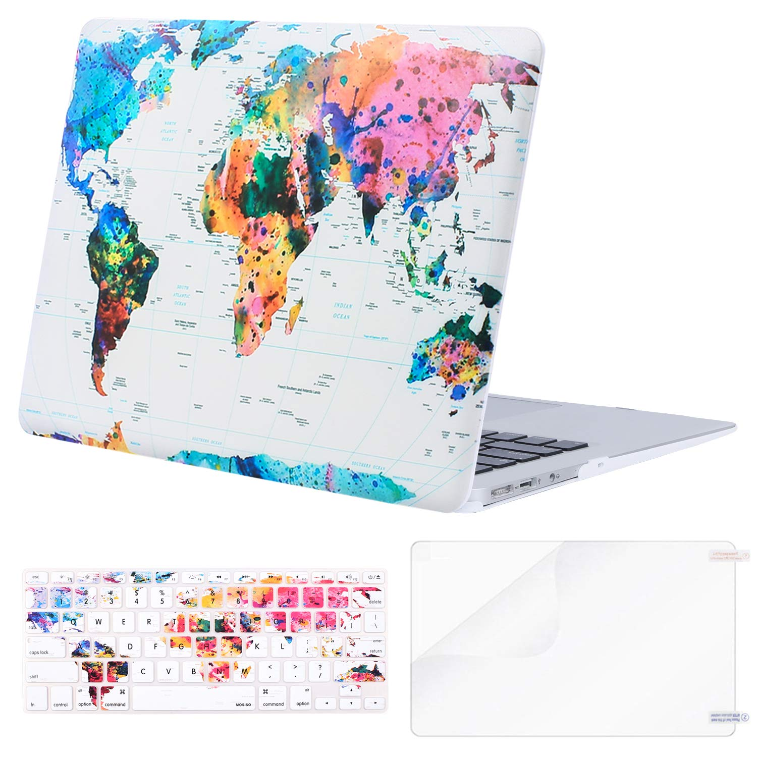MOSISO MacBook Air 13 Case (A1369 & A1466, Older Version 2010-2017 Release), Plastic Pattern Hard Case & Keyboard Cover & Screen Protector Only Compatible MacBook Air 13 Inch, World Map by MOSISO (Image #1)