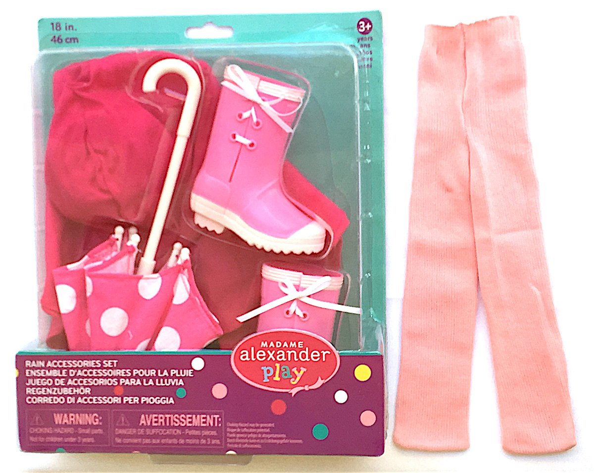 Amazon.com: Madame Alexander Play Rain Accessories Set, including Rain Poncho, Umbrella and Boots with Bonus Pink Tights: Toys & Games