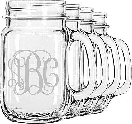 amazon com interlocking monogram mason jar mugs set of 4
