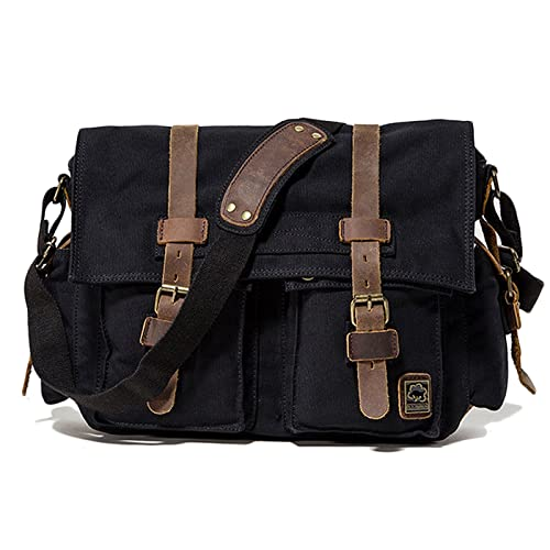 Amazon.com: Vintage bolsa de lona de Mensajero de piel ...