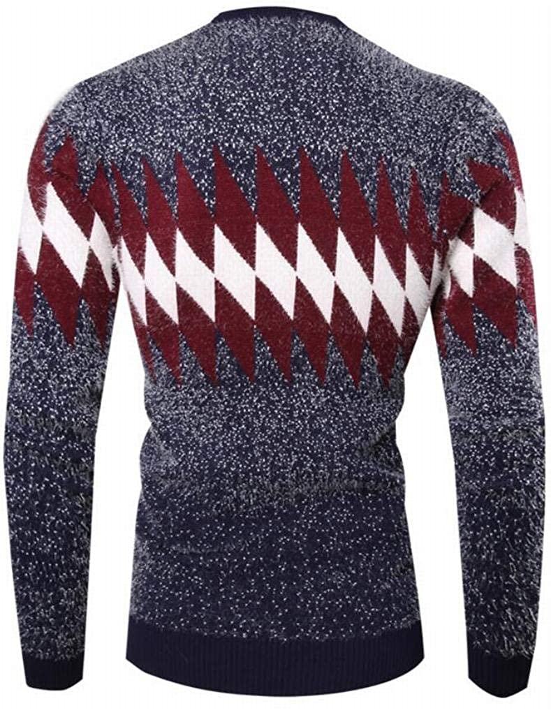 Jofemuho Mens Crew Neck Contrast Long Sleeve Warm Winter Knitted Diamond Pullover Sweaters