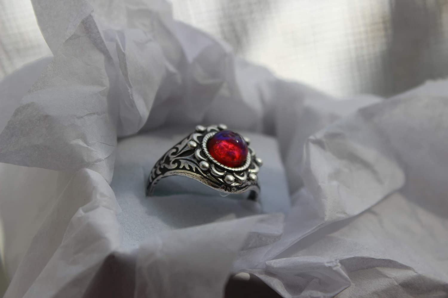 silver renaissance setting adjustable ring base. Dragons Breath Fire opal ring Victorian setting 7mm