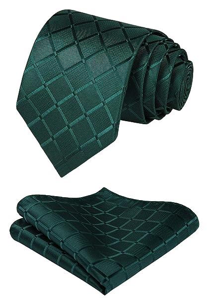 HISDERN Panuelo de corbata verde para hombre Conjunto clasico de ...