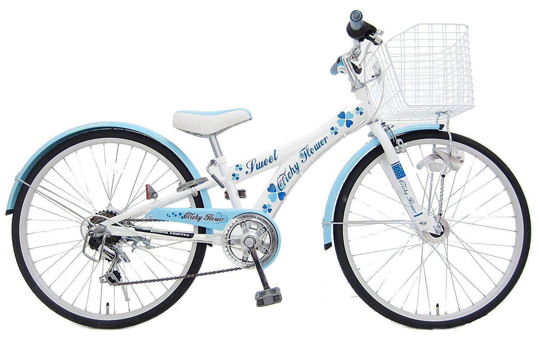 6段変速 26インチ自転車 クリシーフラワー ガールズサイクル ホワイトブルー (LEDライト装備) 263636B B00BP5LMQ0