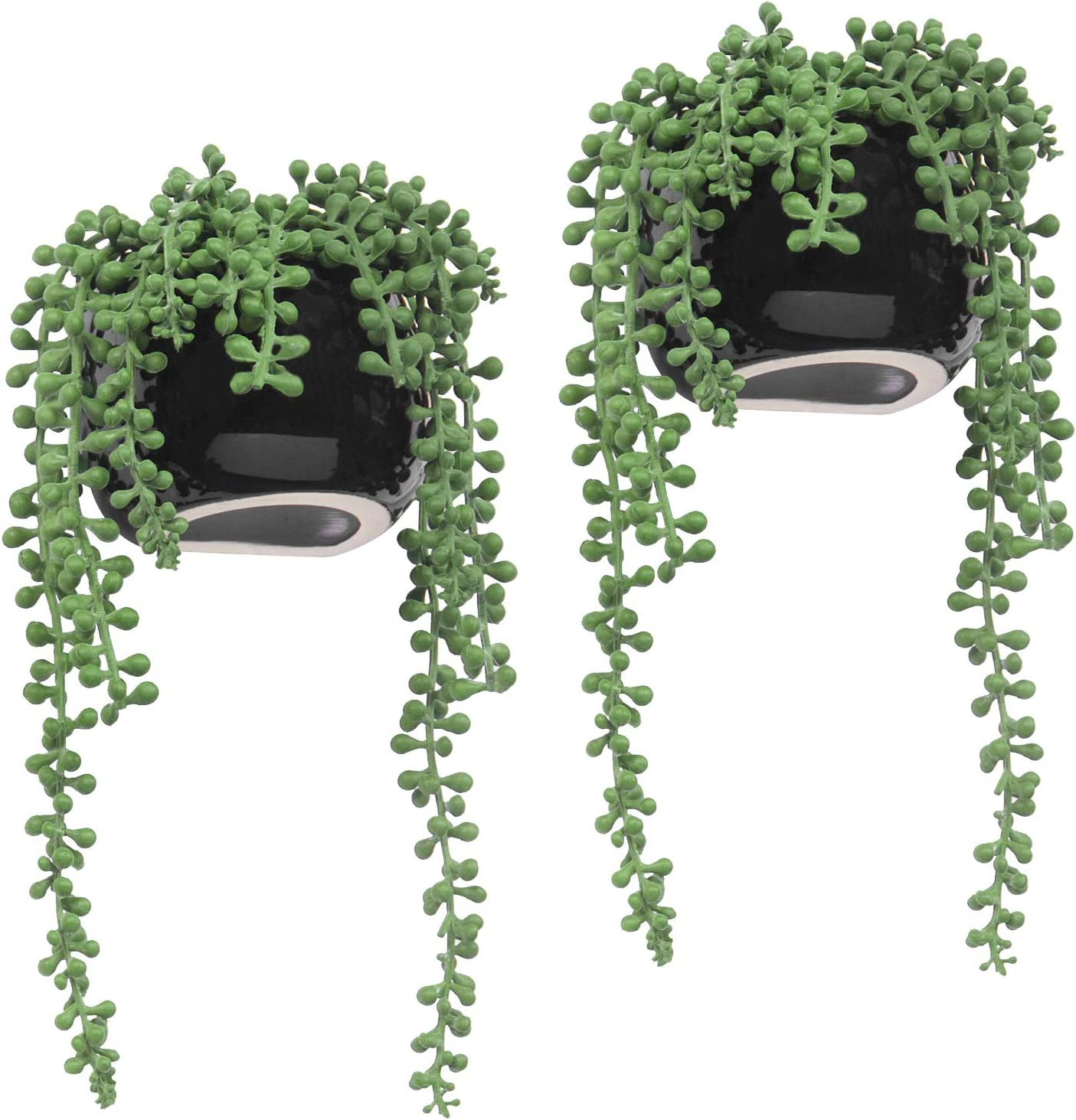 MyGift 10-inch Wall-Mounted Artificial String of Pearls Plants in Black Ceramic Planters, Set of 2