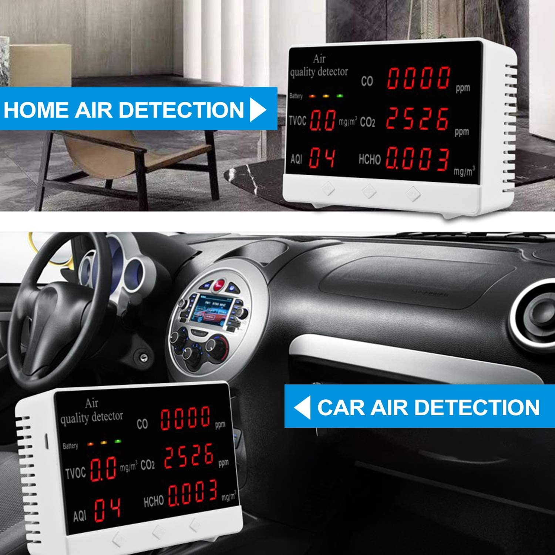 Medidor de Co2 Detector de Di/óxido de Carbono con Pantalla digital multifuncional Alta precisi/ón CO CO2 HCHO TVOC Detector Analizador de calidad del aire Monitor