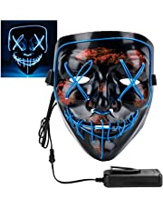 XDDIAS Light up Mask, Halloween LED Masks 4 Modes Changeable for Halloween Carnival Masquerade Party and Cosplay, Blue