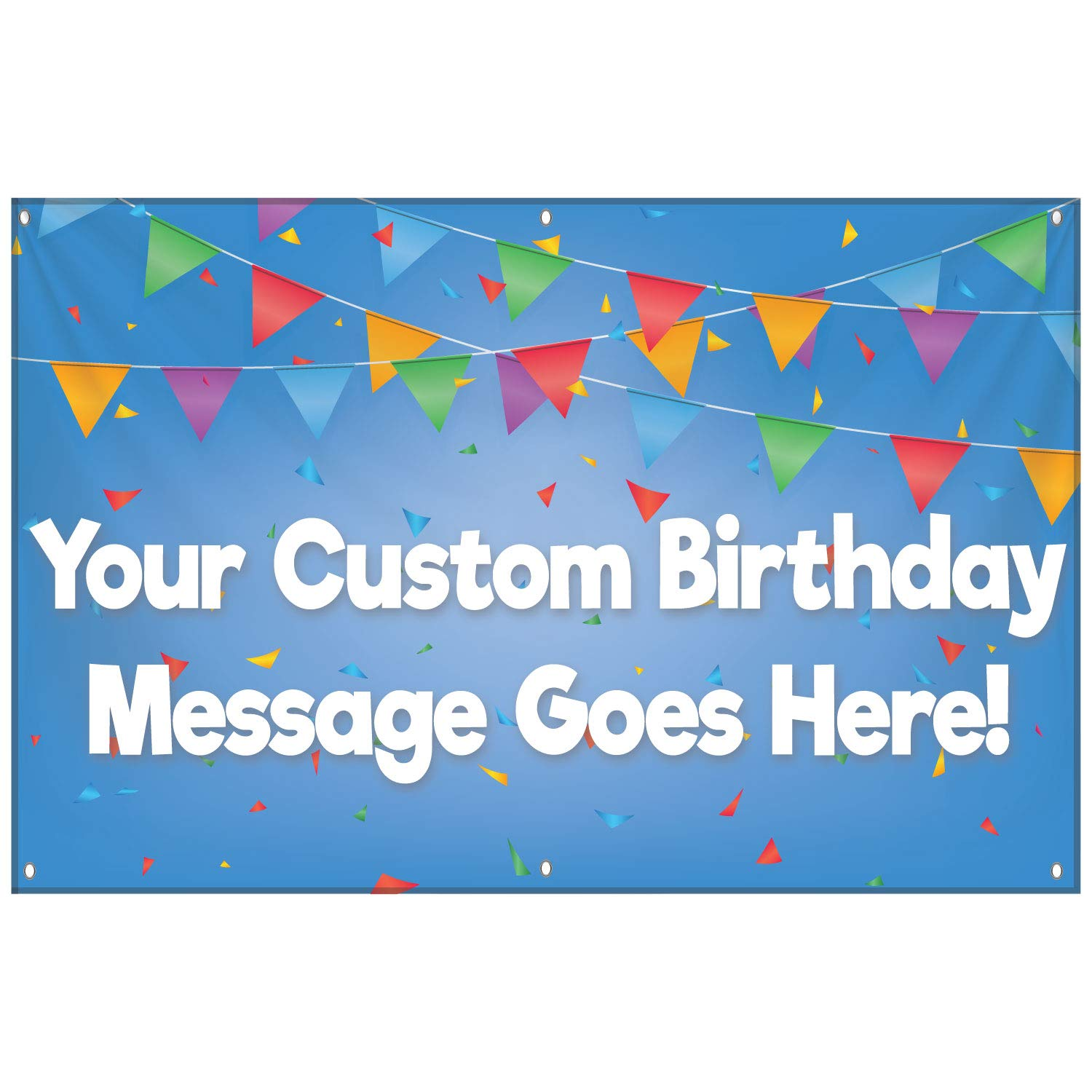 HALF PRICE BANNERS | Custom | Birthday Party Vinyl Banner | Heavy Duty Outdoor | 2'x4' Blue | Free Bungees & Zip Ties | Easy Hang Party Sign | Birthday Party | Various Sizes | Made in USA