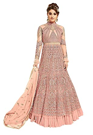 53c1565121 FIORI DESIGN Women's Net Anarkali Suits (Glossy-7274, Peach, Free Size)