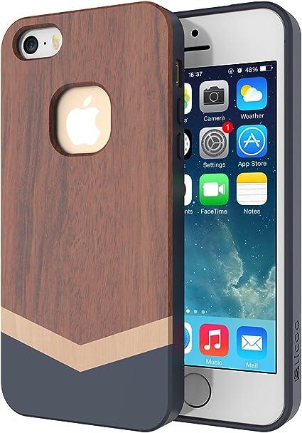 Coque iPhone 5S, Coque iPhone 5, Slicoo® iPhone 5 5s Case Coque Housse Etui Couvert en Bois Bambou avec TPU Souple pour iPhone 5 / Apple iPhone 5s ...