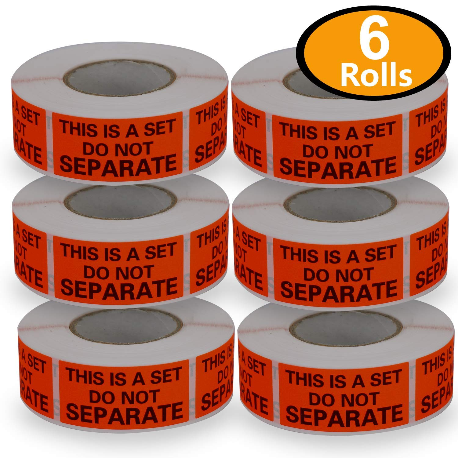 6 Rolls/3000 Labels,This is a Set Do Not Separate,Fluorescent Red FBA Packing Labels(1'' x 2'')