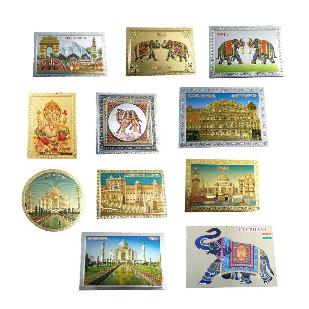 PinkcityShoppy India Souvenir Fridge Magnet-Indian Manuments Plastic Gifts Item Sticker Collectible Art Home Decore Art Set of 11 pcs
