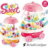 Brand Conquer Luxury Sweet Shopping Battery Operated Ice Cream Trolley Pretend Roll Plastic Play Set with LED Lights and Music Learning and Educational Toy for Kids (Multicolour, 39 Pieces)