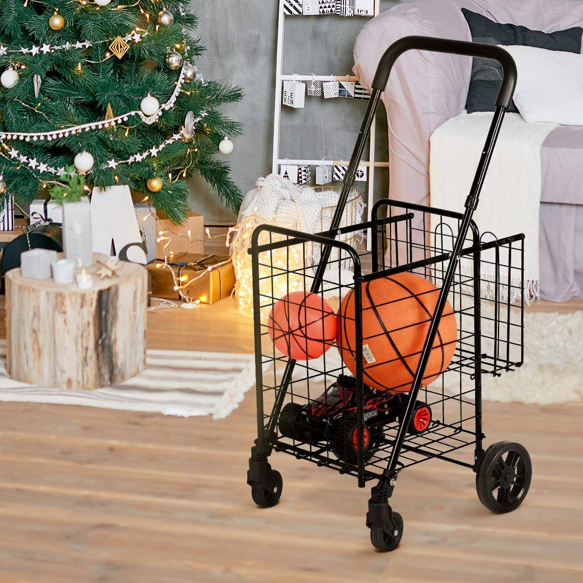 Goplus Folding Shopping Cart Double Basket Perfect for Grocery Laundry Book Luggage Travel with Swivel Wheels Silver